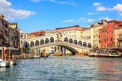Rialto-Brug, één van de meest bezochte gezichten van Venetië, Ita royalty-vrije stock fotografie