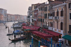 The Rialto,gondolas,and the beautiful city of Venice,Italy Royalty Free Stock Photos
