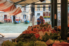 Rialto market and Grand Canal, Venice Stock Photo