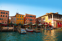 Rialto Market In Venice, Italy As Seen From The Grand Canal Royalty Free Stock Photos