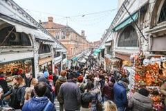 Rialto marknader i Venedig Arkivbild