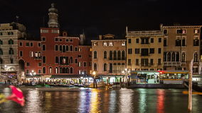 Rialto panning time lapse at night stock video