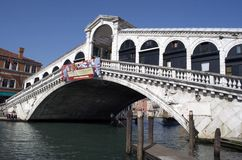 Rialto Stone  Bridge in Venice Stock Images