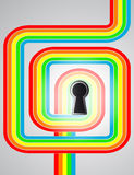 Rianbow node with keyhole in the middle vector Stock Photos