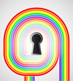 Rianbow swirl with keyhole in the middle vector Royalty Free Stock Photography