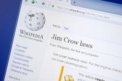 Riazan, Russie - 19 août 2018 : Page de Wikipedia au sujet des lois de Jim Crow sur l'affichage du PC image stock