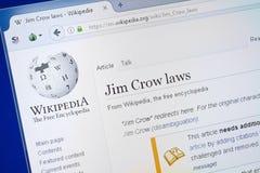 Riazan, Russie - 19 août 2018 : Page de Wikipedia au sujet des lois de Jim Crow sur l'affichage du PC photos stock