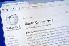 Riazan, Russie - 19 août 2018 : Page de Wikipedia au sujet de film de Blade Runner 2049 sur l'affichage du PC Images stock