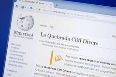 Riazan, Russie - 19 août 2018 : Page de Wikipedia au sujet de la La Quebrada Cliff Divers sur l'affichage du PC photos stock