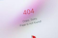 Riazan, Russie - 29 avril 2018 : Erreur 404 non trouvée sur le site Web sur l'affichage du PC Image stock