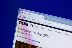 Riazan, Russie - 16 avril 2018 - page d'accueil de BBC Co le R-U sur l'affichage du PC photo libre de droits