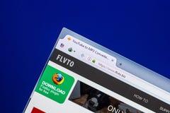 Riazan, Russie - 29 avril 2018 : Page d'accueil de site Web de Flvto sur l'affichage du PC, URL - Flvto biz photographie stock libre de droits