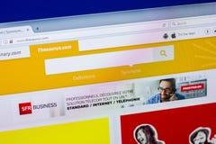 Riazan, Russie - 16 avril 2018 - page d'accueil de site Web de thésaurus sur l'affichage du PC, URL - thésaurus com image libre de droits