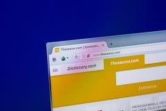 Riazan, Russie - 16 avril 2018 - page d'accueil de site Web de thésaurus sur l'affichage du PC, URL - thésaurus com photographie stock libre de droits