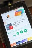 Riazan, Russie - 3 juillet 2018 : Calculatrice pro - résolvez les maths par l'appareil-photo APP mobile sur l'affichage de la tab photographie stock