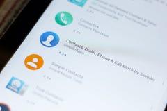 Riazan, Russie - 3 juillet 2018 : Les contacts, l'appeleur, le téléphone et l'appel bloquent l'icône dans la liste d'apps mobiles image stock