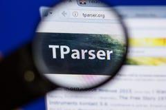 Riazan, Russie - 16 juin 2018 : Page d'accueil de site Web de TParser sur l'affichage du PC, URL - TParser org photos libres de droits