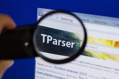 Riazan, Russie - 16 juin 2018 : Page d'accueil de site Web de TParser sur l'affichage du PC, URL - TParser org images stock