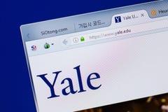 Riazan, Russie - 17 juin 2018 : Page d'accueil de site Web de Yale University sur l'affichage du PC, URL - Yale edu images libres de droits