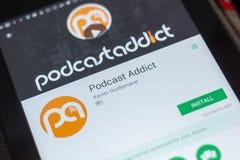 Riazan, Russie - 16 mai 2018 : Podcast l'intoxiqué APP mobile sur l'affichage de la tablette photos stock