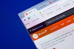 Riazan, Russie - 13 mai 2018 : Site Web d'AskUbuntu sur l'affichage du PC, URL - AskUbuntu com Photographie stock