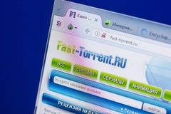 Riazan, Russie - 13 mai 2018 : Site Web de Rapide-torrent sur l'affichage du PC, URL - Rapide-torrent RU Image stock