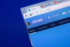 Riazan, Russie - 13 mai 2018 : Site Web op sur l'affichage du PC, URL - op gg Photographie stock