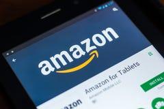 Riazan, Russie - 21 mars 2018 - Amazone APP mobile sur l'affichage de la tablette Photos libres de droits