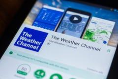Riazan, Russie - 21 mars 2018 - la chaîne météo APP mobile sur l'affichage de la tablette Image libre de droits