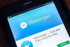 Riazan, Russie - 21 mars 2018 - logo du messager APP de Facebook sur un affichage de tablette Images stock