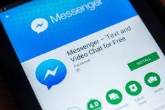 Riazan, Russie - 21 mars 2018 - logo du messager APP de Facebook sur un affichage de tablette Photo stock