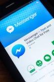 Riazan, Russie - 21 mars 2018 - logo du messager APP de Facebook sur un affichage de tablette Photo libre de droits