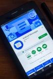 Riazan, Russie - 21 mars 2018 - messages APP d'Android sur un affichage de tablette Photographie stock libre de droits