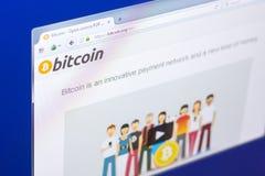 Riazan, Russie - 29 mars 2018 - page d'accueil de cryptocurrency de Bitcoin sur l'affichage du PC, adresse de Web - bitcoin org photographie stock