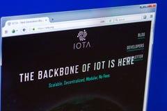 Riazan, Russie - 29 mars 2018 - page d'accueil de cryptocurrency d'iota sur l'affichage de PC, adresse de Web - iota org photo libre de droits