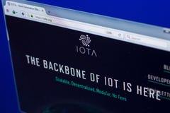 Riazan, Russie - 29 mars 2018 - page d'accueil de cryptocurrency d'iota sur l'affichage de PC, adresse de Web - iota org photographie stock libre de droits