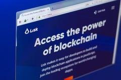 Riazan, Russie - 29 mars 2018 - page d'accueil de cryptocurrency de Lisk sur un affichage de PC, adresse de Web - lisk E/S image libre de droits