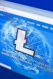 Riazan, Russie - 29 mars 2018 - page d'accueil de cryptocurrency de Litecoin sur l'affichage du PC, adresse - litecoin com image libre de droits