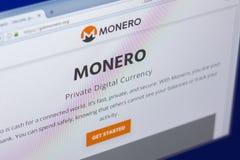 Riazan, Russie - 29 mars 2018 - page d'accueil de cryptocurrency de Monero sur l'affichage de PC, adresse de Web - getmonero org image libre de droits