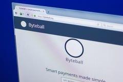 Riazan, Russie - 29 mars 2018 - page d'accueil de devise crypty de Byteball sur l'affichage du PC, adresse de Web - byteball org image stock