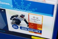Riazan, Russie - 3 mars 2018 : Site Web officiel du mouvement de Paralympic photos stock
