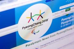 Riazan, Russie - 3 mars 2018 : Site Web officiel du mouvement de Paralympic photographie stock