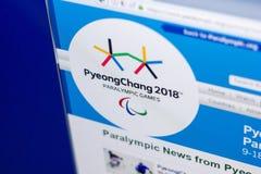Riazan, Russie - 3 mars 2018 : Site Web officiel du mouvement de Paralympic image libre de droits