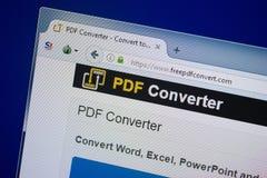 Riazan, Russie - 9 septembre 2018 : Page d'accueil de site Web de converti de PDF Free sur l'affichage du PC, URL - FreePdfConver photo libre de droits