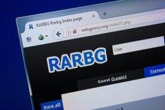 Riazan, Russie - 9 septembre 2018 : Page d'accueil de site Web de RAR BG Proxu sur l'affichage du PC, URL - RarBgProxu org photographie stock libre de droits