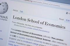 Riazan, Russie - 9 septembre 2018 - page de Wikipedia au sujet de London School of Economics sur un affichage de PC photo libre de droits