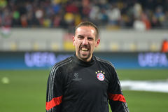Ribéry smiling match between fc shakhtar donetsk vs fc bayern münchen uefa champions league round of first leg arena lviv lviv Royalty Free Stock Images