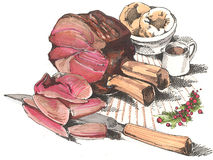 Rib of Beef. Hand drawn illustration of a rib of rare beef with yorkshire puddings & gravy Stock Image