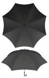 8 rib blank black umbrella isolated Royalty Free Stock Images