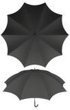 10 rib blank black umbrella isolated Stock Images